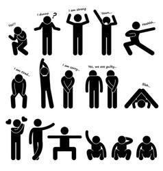 man person basic body language posture stick vector image