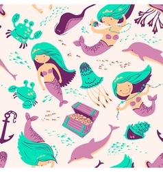 Marine seamless background with mermaid vector