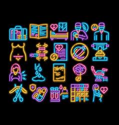 Maternity hospital neon glow icon vector