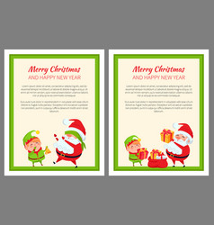 merry christmas elf and santa vector image