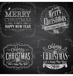 Merry christmas emblems chalk2 vector
