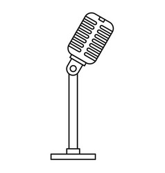 Microphone icon outline style vector