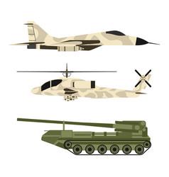 Military army transport technic war tanks vector
