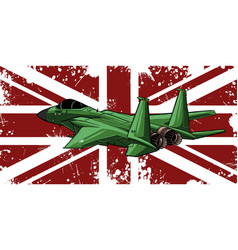 Military fighter jets with england flag vector