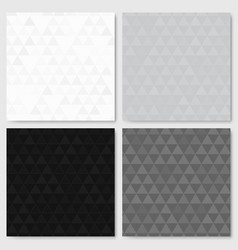 Monochrome triangle patterns set vector