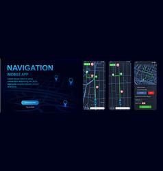 navigator gps mockups screens uiuxkit vector image
