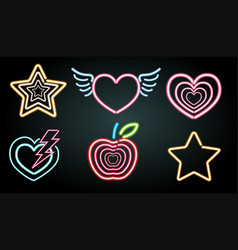 Neon light symbols in different shapes vector