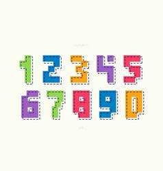 number set cartoon cute style vector image