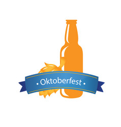 oktoberfest blue ribbon beer bottle background vec vector image