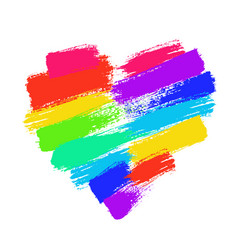 painted rainbow heart vector image