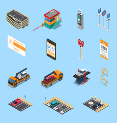 parking isometric icons set vector image