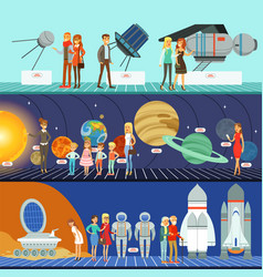 People in the planetarium set innovation vector