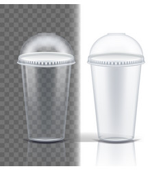 plastic cup transparent single clear vector image