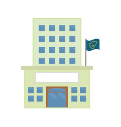 police station building with flag vector image