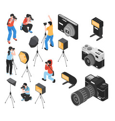 professional photographer isometric set vector image