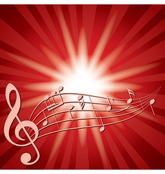 Red background with music notes and flash vector