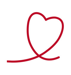red heart romantic lovely symbol line vector image