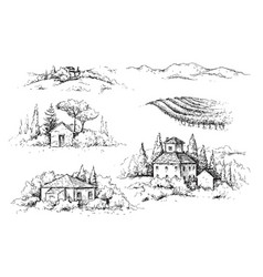 Rural scene with houses vineyard and trees sketch vector