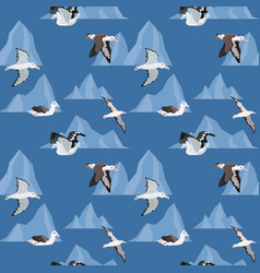 Seamless pattern with birds albatrosses in the vector