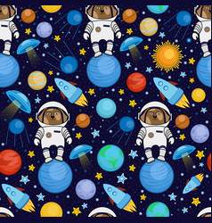 Seamless pattern with dog astronaut in space vector