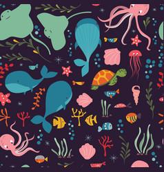 seamless pattern with underwater ocean animals vector image