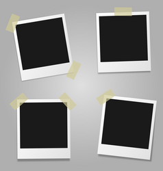 set blank photo frames with shadow vector image