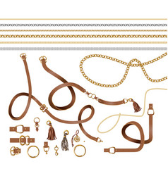 Set of the belt elements chain vector