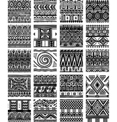 Set seamless ethnic tribal pattern vector