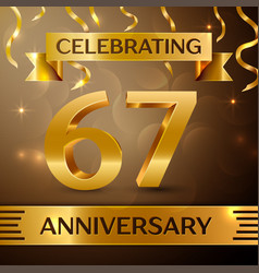 Sixty seven years anniversary celebration design vector