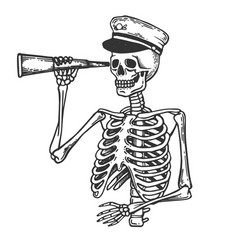 skeleton captain on horse engraving vector image