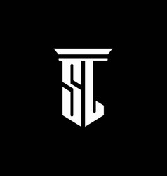 sl monogram logo with emblem style isolated on vector image