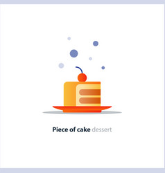 slice layered cake on dish tasty dessert vector image