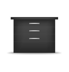 Small black nightstand mockup realistic style vector