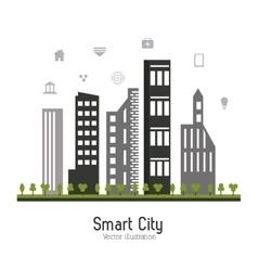 Smart city design Social media icon Technology vector image