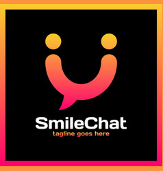 smile chat logo - happy people vector image