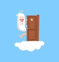 Smiling god character on fluffy white cloud vector