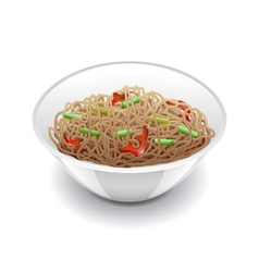 Soba noodles isolated on white vector