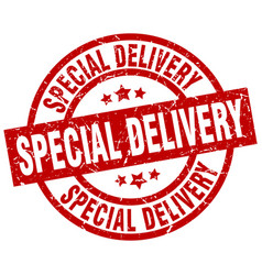 Special delivery round red grunge stamp vector