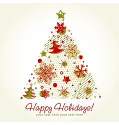 Stylized Christmas tree shaped card with snowflake vector image