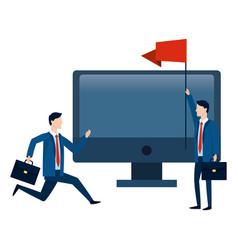 Successful businessmen avatar cartoon vector