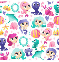 super cute mermaids sea creatures seamless vector image