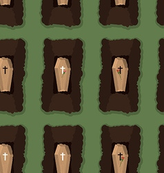 Top view of cemetery seamless pattern coffins vector image
