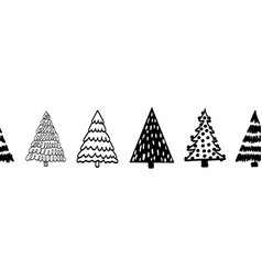 tree border black on white seamless border vector image