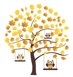 Tree fall owl vector