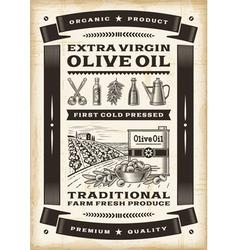 Vintage olive oil poster vector image
