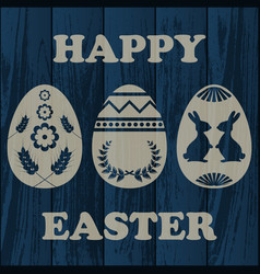 Wooden easter background vector