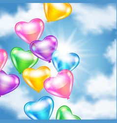 Balloons in shape of heart in the sky vector