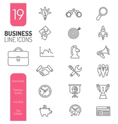 Business Strategy Thin Lines Web Icon Set vector image vector image