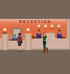 hotel reception interior with employee and guests vector image