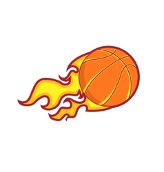 Retro color flying fire basketball badge vector image vector image